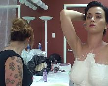 Katy Perry getting her breasts plastered in 2008