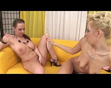 Hairy Lesbians Sharing Cristal Dildo BVR