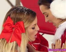 Christmas lingeried lesbians grinding pussy
