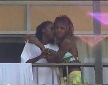 Real Ebony Lesbians Kissing at Myrtle Beach
