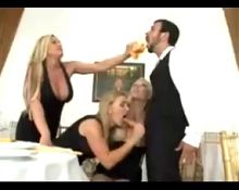 Waiter gets gang sucked by 3 MILFS