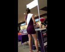 Hot teen in tight purple minidress at the mall