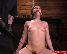 Tied up bdsm sub fingered by gloved maledom