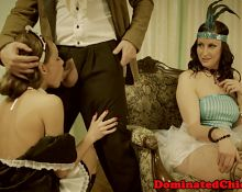 Submissive beauty dominated by her master