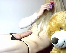 Horny Teen Crosdressing Shemale Anna Rabbit with Dildo