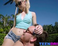 Petite Anastasia Knight gets scared by the size of that rod