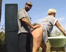 skinny granny double fucked by horny peasants