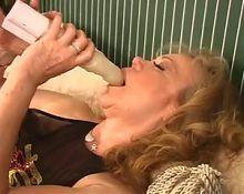 Sexy Old Granny Kitten Natividad Dildos Her Pussy