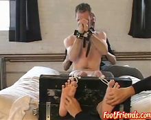 Cute twink loves getting his feets tickled while laughing