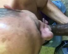 Grandpa sucks his cum off my dick!