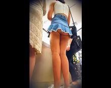 Short Jeans Skirt hiding Bubble Butt