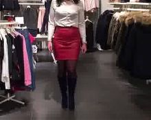 leather skirt red