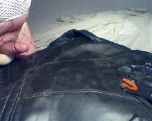 Cum on vintage leather biker jacket wearing two dirty thongs