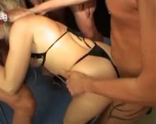 Blonde swallows cum